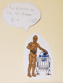 A drawing of C3P0 along with the math equation 6 + blank = 10..