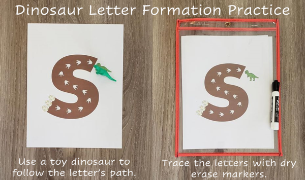 "A photo of a large letter ""s"". The letter has dinosaur footprints on it and has a toy dinosaur at the start of th eletter. Students move the dinosaur along the letter to practice making the formaton of the letter. At the end of the letter, there is a picture of dinosaur eggs. The student moves the toy dinsoar along the letter to get to the eggs to practice the formation. Also, there is a second photo of the same printed letter, but it is laminated and the student can practice tracing the letter with a dry erase marker."
