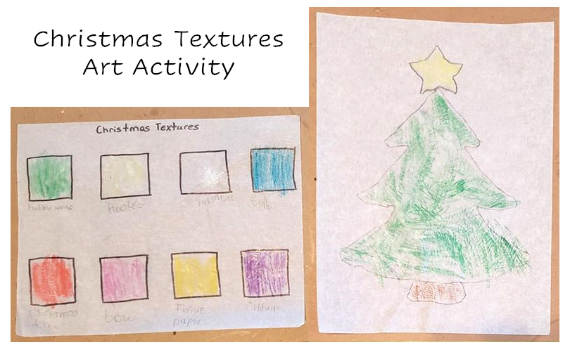 A picture of the art project. There are two pictures. The first has eight boxes drawn on it, each with a different texture rubbing for one of the following: bubble wrap, ornament hooks, an ornament, tulle, a christmas tree branch, a bow, tissue paper, or ribbon. The second picture is a Christmas tree that a child drew and then colored by doing a rubbing of the tree branch.