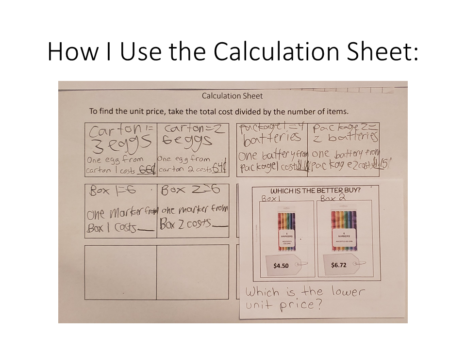 Sample page: calculation sheet.
