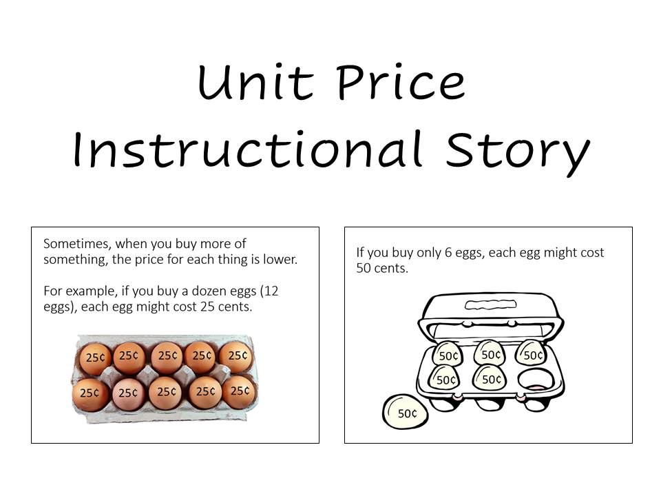 Cover photo of the unit price instructional story. It has the title and two sample pages from the book.