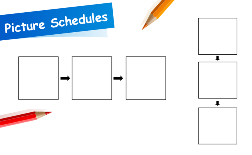 A picture schedule with three boxes for photos instead of two.