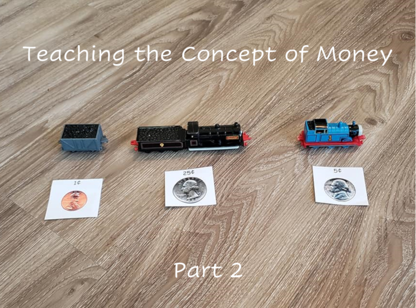 """A photo of three train toys, each with a small piece of paper in front of them. Each piece of paper has a different coin and amount on it, such as a picture of a penny and the text """"1 cent."""""""