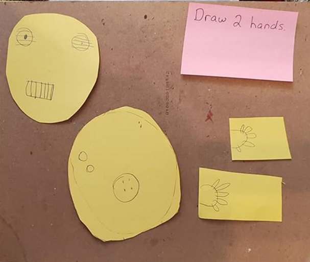 """A note card with the text, """"Draw 2 hands"""" written on it. The student drew two hands on yellow paper to cut out to make the art project."""