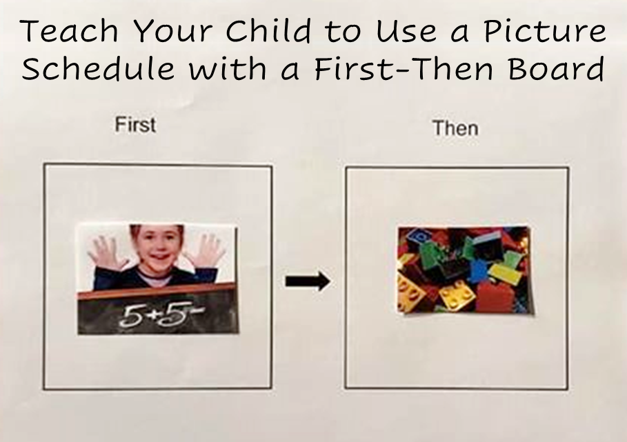"""A photo of a first then chart: two boxes, one labeled """"first"""" and one labeled """"then."""" The first box has a picture of a math problem written on a chalk board and the second box has a picture of toy blocks."""