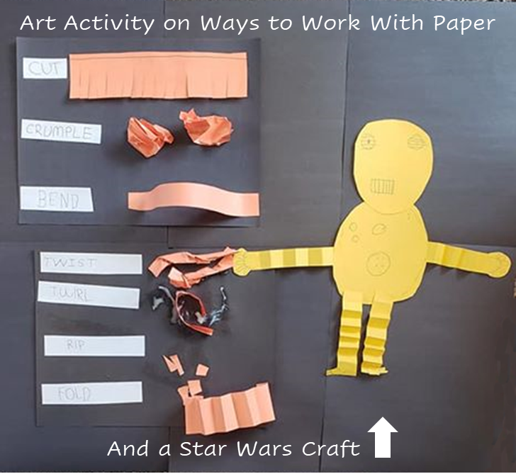 A poster created by a student with different ways to sculpt paper: cut paper (into fringe), crumpled paper, bent paper, twisted paper, ripped paper, and accordion folded paper.