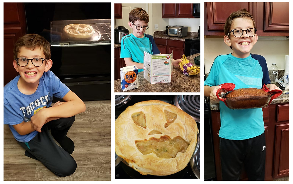 A collage of photos showing my son making a pot pie and banana bread.