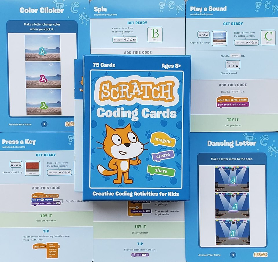 The cover of the scratch coding cards and a few sample cards showing some steps to animate your name using scratch.