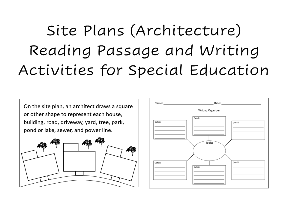 A screenshot of the cover of the site plans reading passage and writing activities download. It includes a picture of a writing organizer and one page from the reading passage.