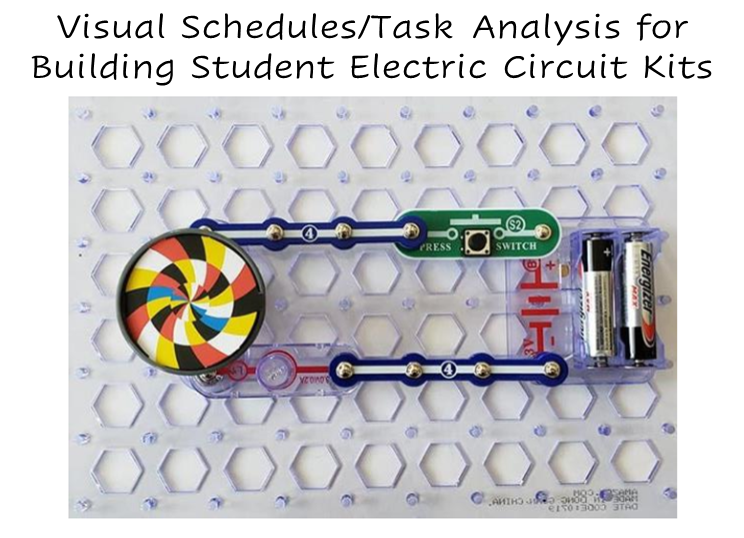 A photo of a completed electric circuit kit that makes a colored disk spin.