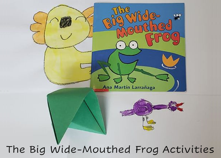 A photo of the book, an origami frog, and drawings of animals from the book.