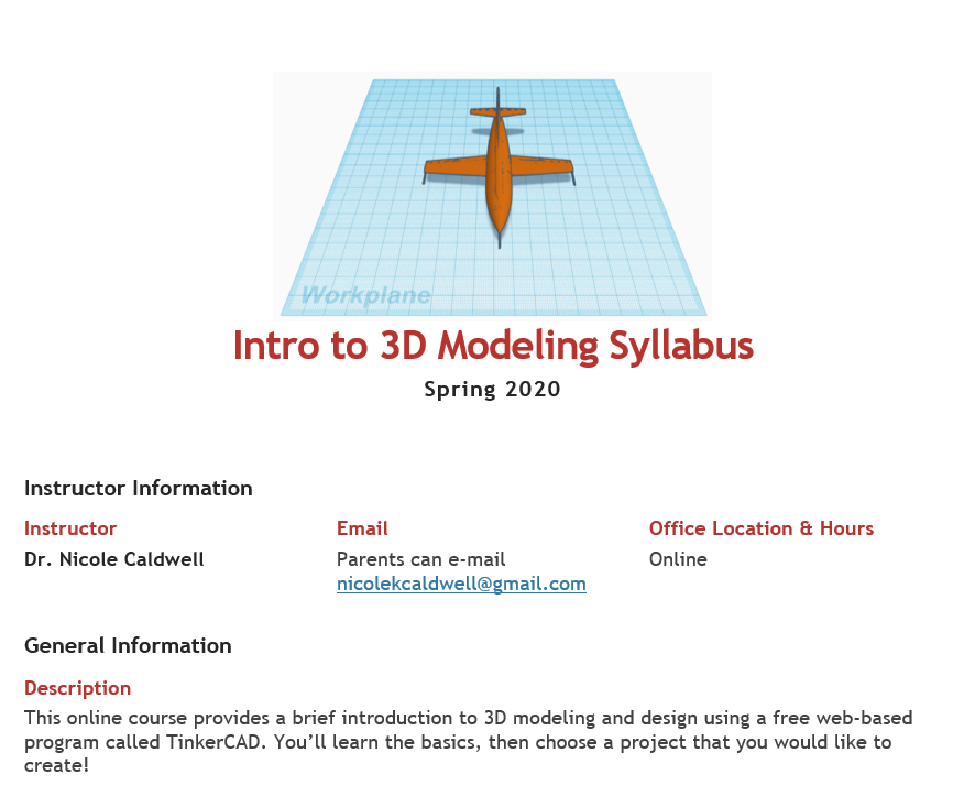 A screenshot of the first section of the course syllabus. It includes the instructor name, a brief description of the course and an image of a 3D modeled airplane.
