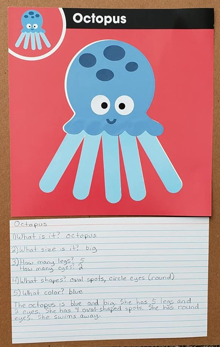 "A sticker art picture of an octopus with the same questions written on it. It also has a paragraph that reads, ""The octopus is blue and big. She has 5 legs and 2 eyes. She has 4 oval shaped spots. She has round yes. She swims away."