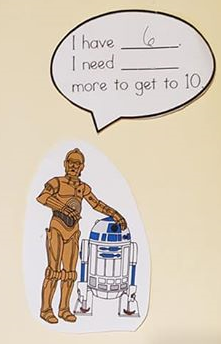 "A drawing of C3P0 saying, ""I have 6. I need blank more to get to 10.""."