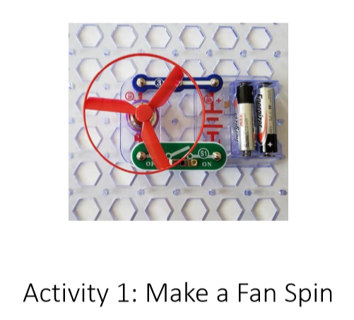 A picture of a completed circuit that makes a fan spin.