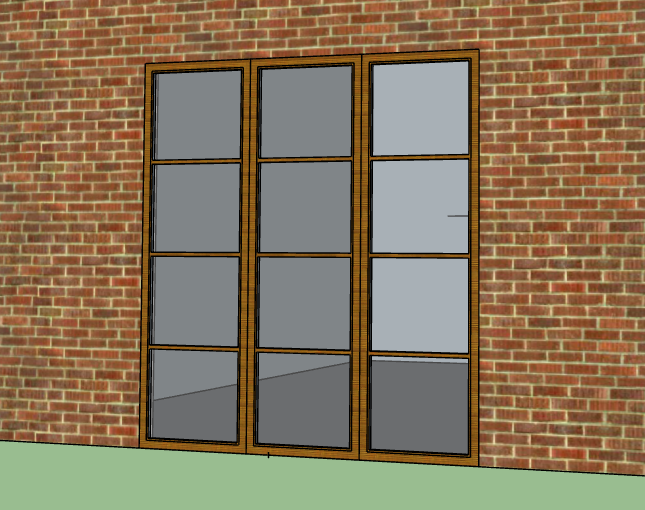 Window panels on a brick exterior house wall.
