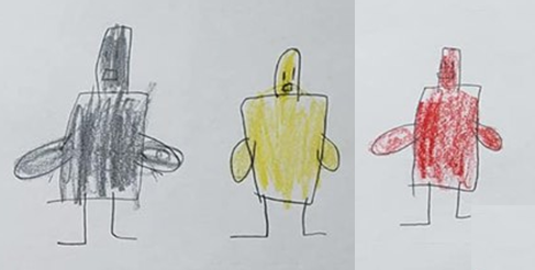 Child's drawing of the three droids.