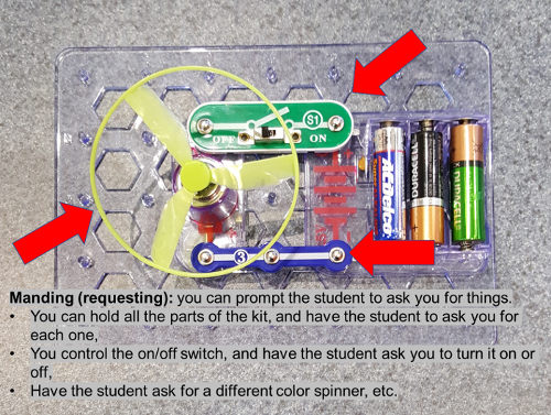 Manding (requesting): you can prompt the student to ask you for things. You can hold all parts of the kit and have the student ask you for each one. You control the on/off switch and have the student ask you to turn it on or off. Have the student ask for a different color spinner, etc.