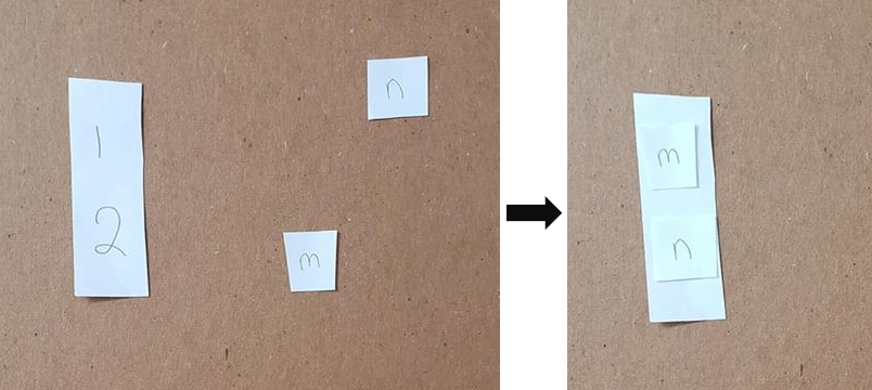 An image showing a piece of paper with a one and a two printed on it. The student puts the letters on the one and two, based on which comes first in the alphabet.