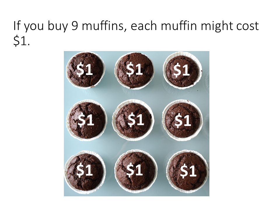Sample page: if you buy 9 muffins, each muffin might cost $1.