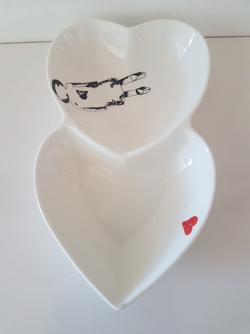 LARGE DOUBLE HEART BOWLS 200mm x 130mm