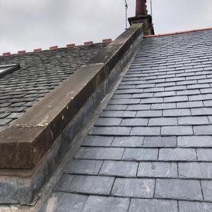 Lead wall reskewed on slate roof Glasgow