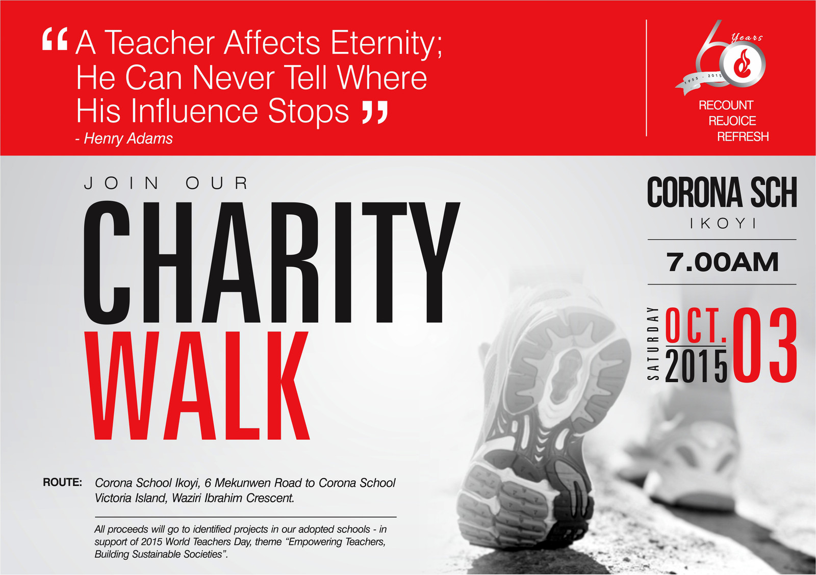 "Corona Schools' Trust Council ""60TH Anniversary Charity Walk"""