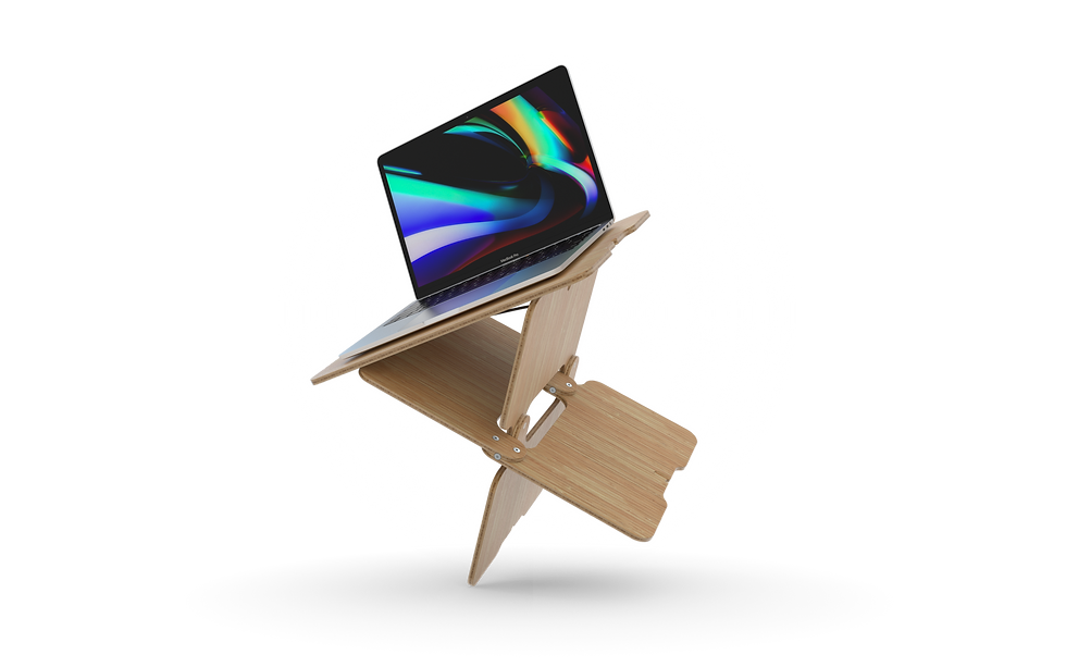 hydesk, a highly compact standing desk, with a MacBook Pro on top