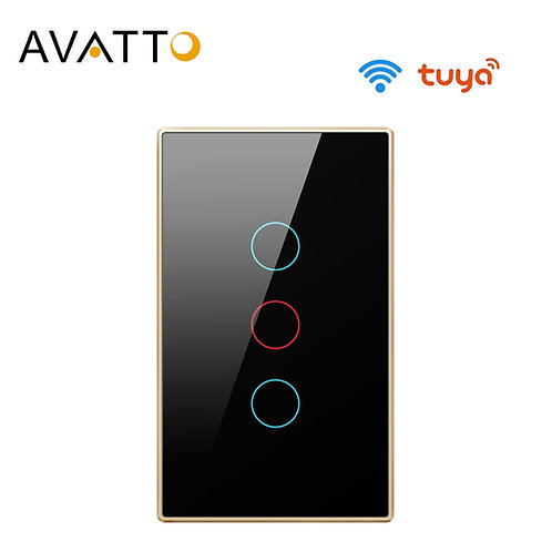 Tuya Wifi Switch With Glass Panel Touch-Sensor 1/2/3 Gang Works With Alexa