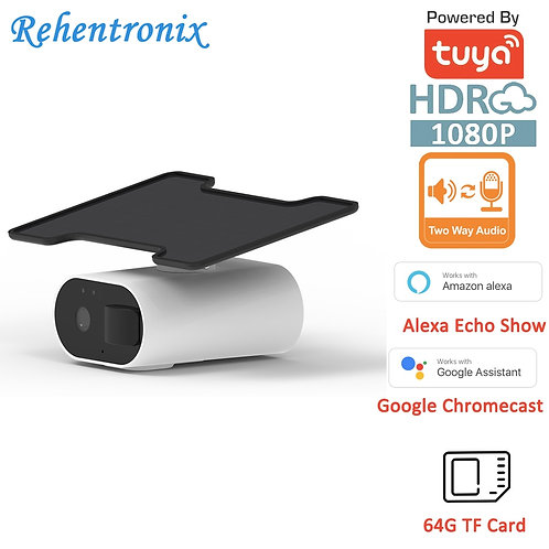 Alexa Google Tuya  Solar Powered Rechargeable Outdoor WIFI Camera 2 Way Audio