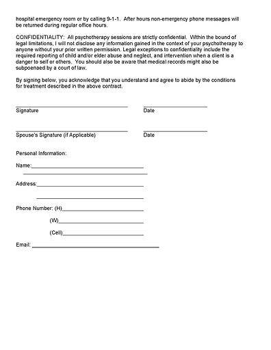 Baron Therapy and Testing Services example informed consent form/contract for psychotherapy services, page 2.