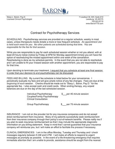 Baron Therapy and Testing Services example informed consent form/contract for psychotherapy services, page 1.