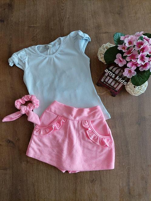 Conjunto blusa  e short /saia