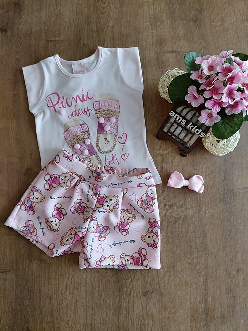 Conjunto blusa e short estampado