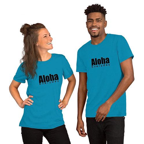 Aloha Everyday Blk print- Short-Sleeve Unisex T-Shirt