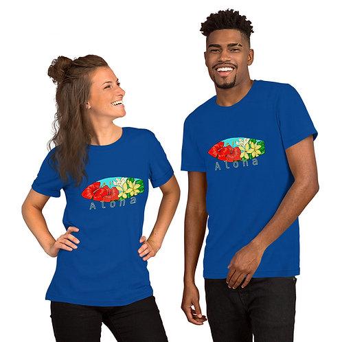 Hibiscus and Plumerias Aloha Board- Short-Sleeve Unisex T-Shirt