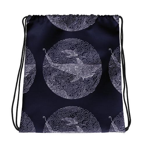 One-Line Shark and Honu-  Drawstring bag