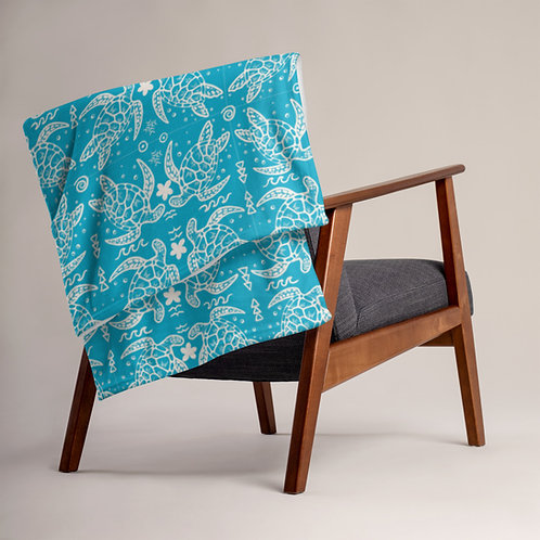 Honu Tatau (Blue)- Throw Blanket