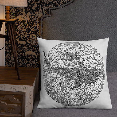 One-Line Reef scene- Premium Pillow