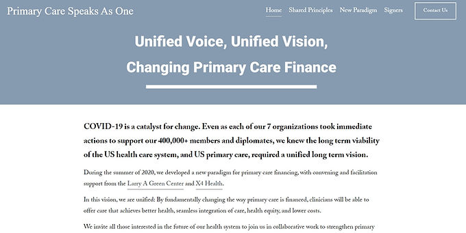 Primary care organizations launch joint vision to rewire primary care financing