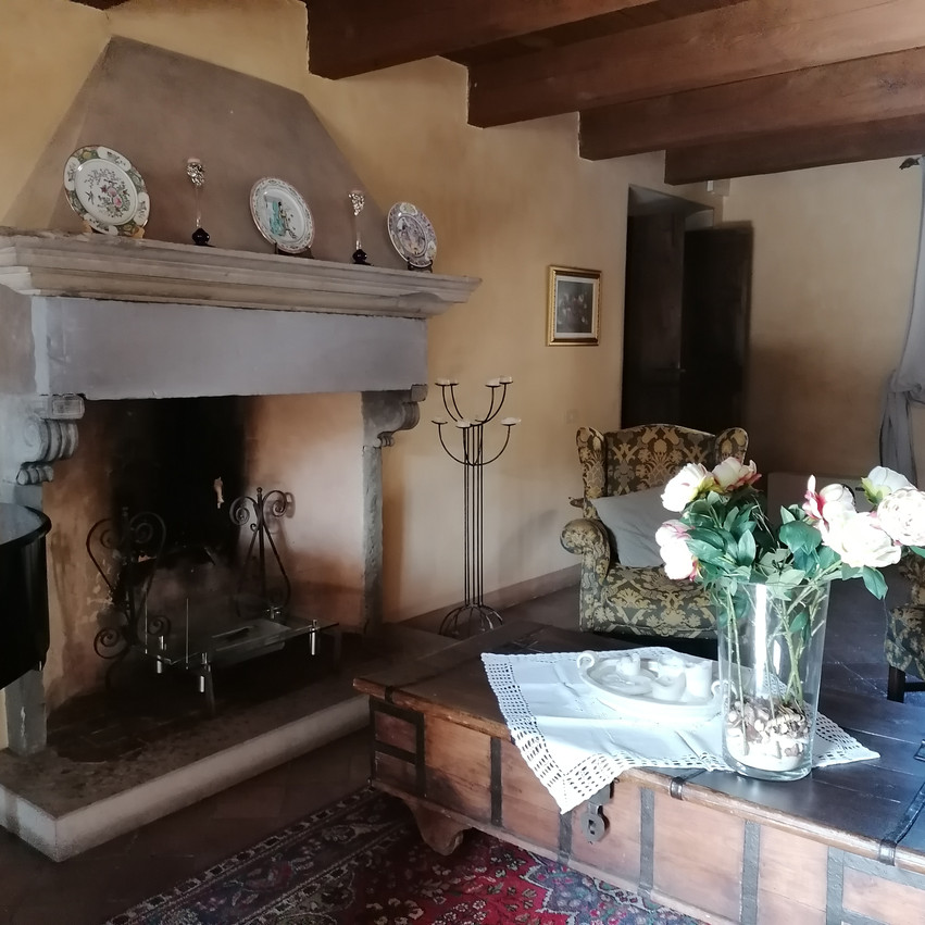 Palazzo Viviani a Montegridolfo salone interno con camino e pianoforte