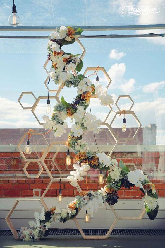 Matrimonio dolci come il miele: tableau figure esagonali