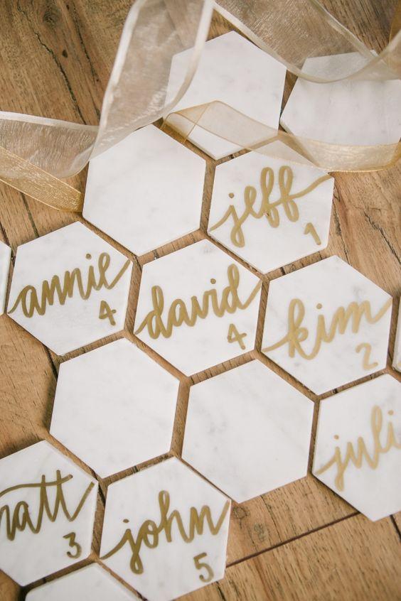 Matrimonio dolci come il miele: tableau tavolette esagonali