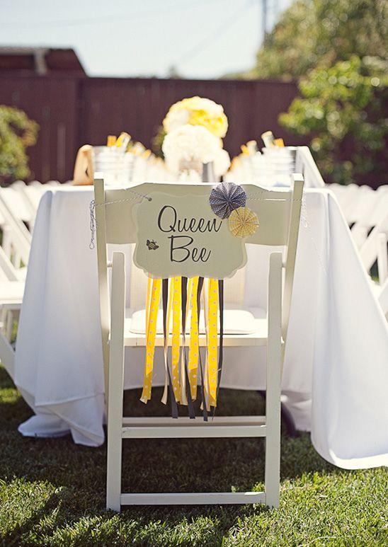 Matrimonio a tema api e miele: decorazione sedia sposa