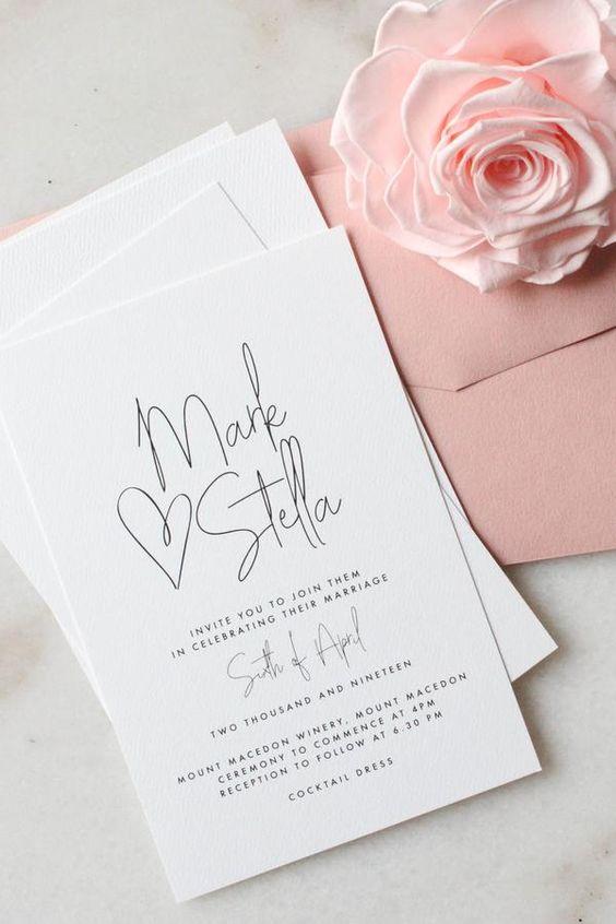 Matrimonio in stile minimal chic: le partecipazioni e la parte calligrafica