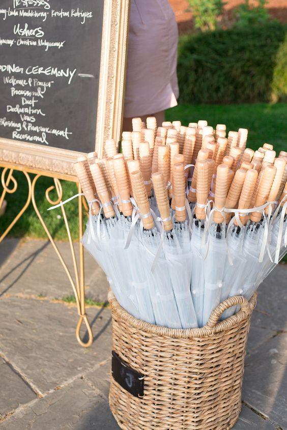 Soluzione per il matrimonio in caso di pioggia: ombrelli a disposizione degli ospiti