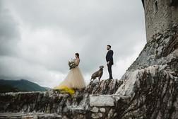 Bride, groom and Luna