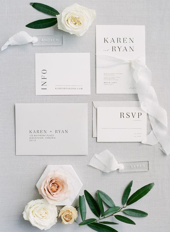 Matrimonio in stile minimal chic: le partecipazioni e tutta la wedding stationery