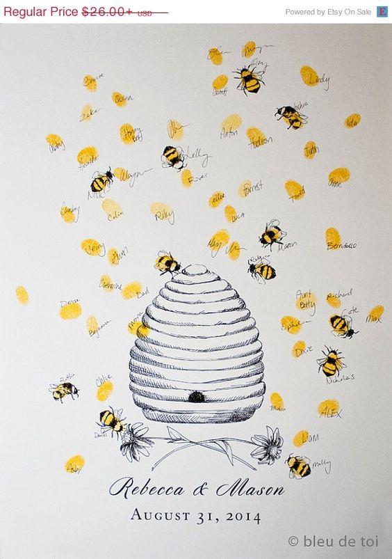 Matrimonio dolci come il miele: guest book tema api e miele