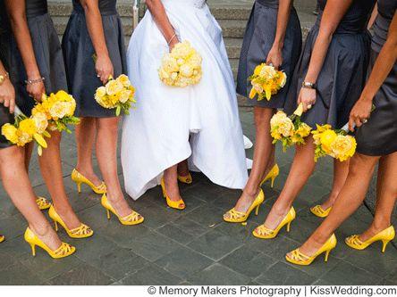 Matrimonio dolci come il miele: scarpe sposa+damigelle gialle